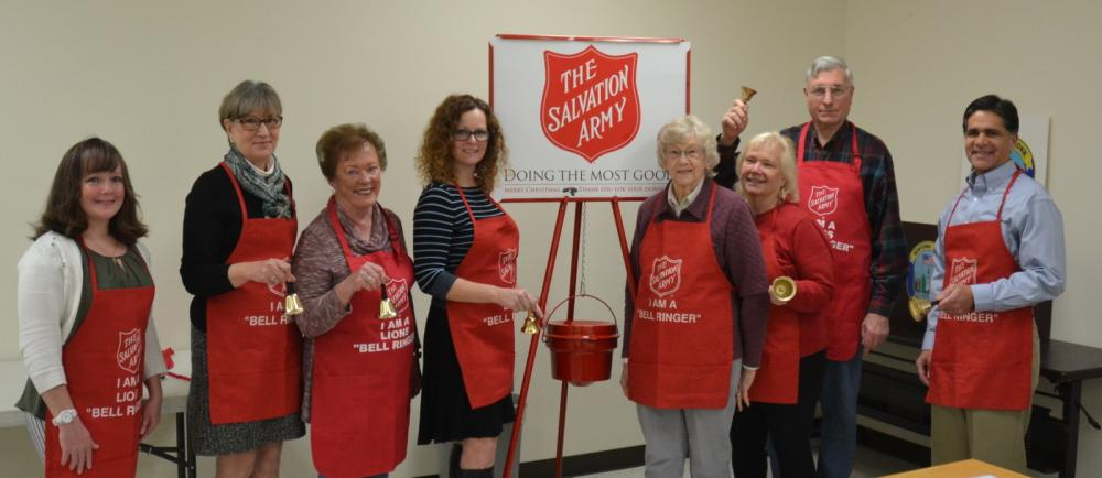 The Newtown-Bethel unit of The Salvation Army launched its 2017 Red Kettle Campaign during a meeting on November 27. From left is Megan Alworth-Khazadion, a Town of Bethel social worker and Salvation Army community service representative; Kathy…