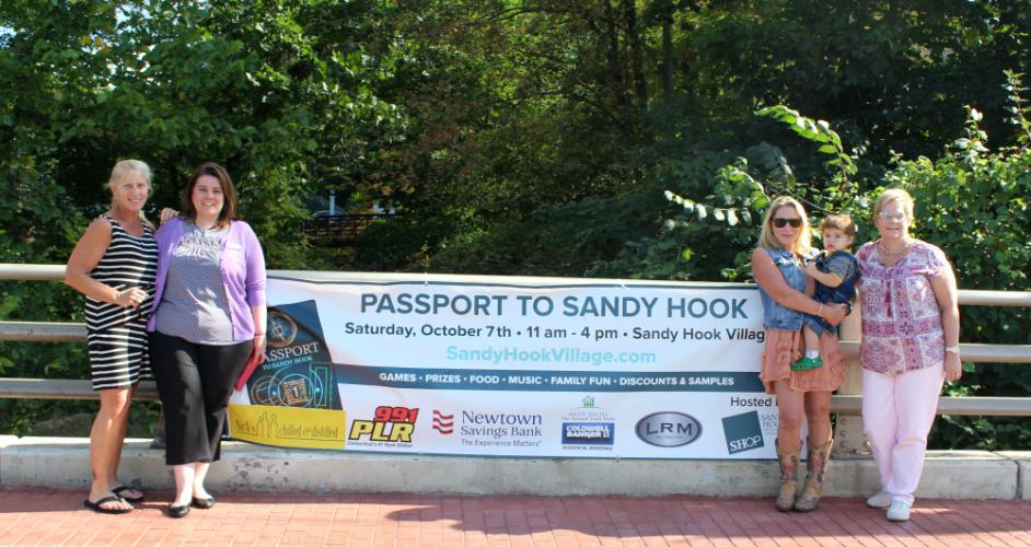 Among those helping to organize The Seventh Annual Passport To Sandy Hook are, from left, SHOP member Maribeth Hemingway; Jennifer Blatchley, assistant branch manager of the Newtown office of Newtown Savings Bank, an event sponsor; and SHOP members…
