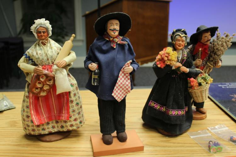 From left are the four Santons from her personal collection Laura DeLuryea shared during her presentation for the genealogy club on December 13: The Baker, Man From Sancerre, Lady from Chamonix, and Yves Montand. The Santon crafted to honor the late…