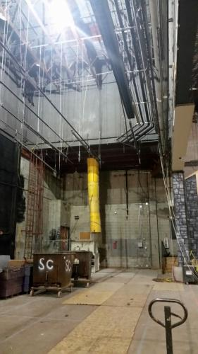 A photo taken on Thursday, March 30, shows progress on the Newtown High School auditorium renovation project. The picture shows a portion of the stage.