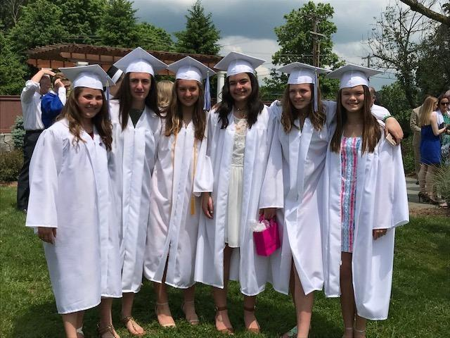 St Rose of Lima School Class of 2018 members, from left, Ashley Gotch, Kayla Ondy, Irena Komninakas, Alivia Garcia, Lily Braun, and Kaly Naughton stand together on June 2.  (Laura Moulder photo)