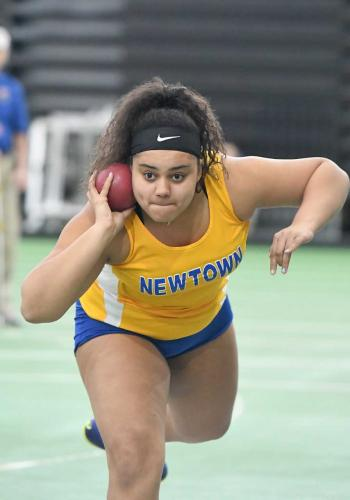 Marley Marston placed fourth in the shot-put competition. (Krista Benson photo)
