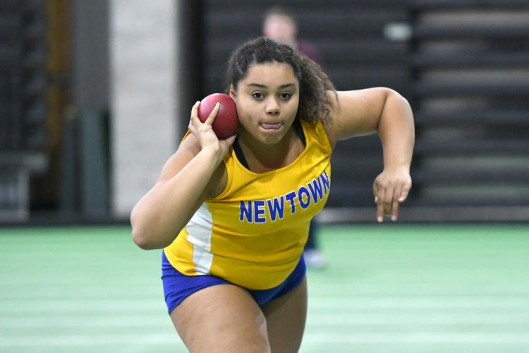 Marley Marston broke Coach Becky Osborne's 20-year-old shot-put record in the SWC championship. (Krista Benson photo)