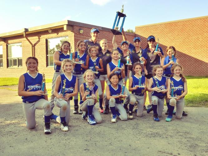 Members of the U10 travel softball team, Newtown Hawks, winners of this weekend's FCFSL B Division tournament, gather in celebration following the championship game this past weekend. Front row left to right, are Addy Cordova, Angie DiLorenzo, Addie…