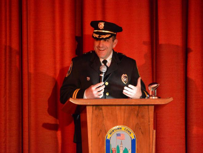 Police Chief James Viadero, shown during his swearing in ceremony in March 2016, was given high marks by the Police Commission during the group's annual job performance review of the town's top cop.  (Bee file photo)