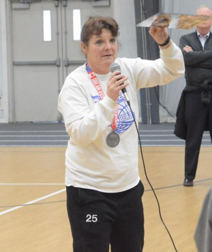 Kathy Davey addresses the Unified Sports athletes and partners after a tournament. (Bee Photo, Hutchison)