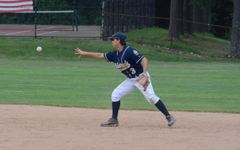 Second baseman Andrew Ridzik starts a double play. (Bee Photo, Hutchison)