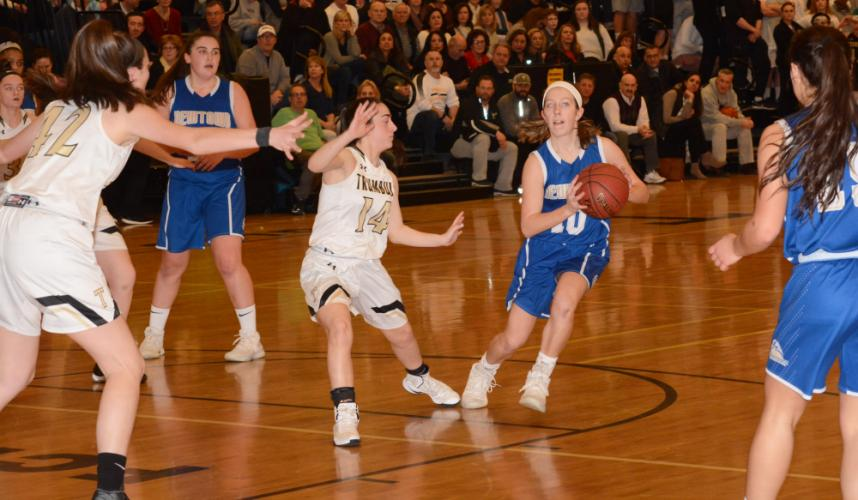 Cyleigh Wilson passes the ball during Newtown's visit to Trumbull in the state tournament. (Bee Photo, Hutchison)