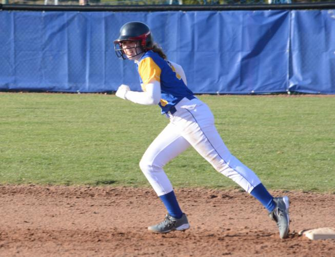 Angela Carriero takes her lead off second base. Carriero drove in the decisive run in Newtown's win over Norwalk. (Bee Photo, Hutchison)