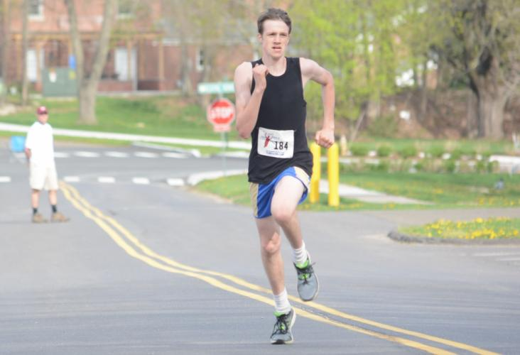 Justin Halmose won the Run4Hunger 5K at Fairfield Hills on May 5. (Bee Photo, Hutchison)