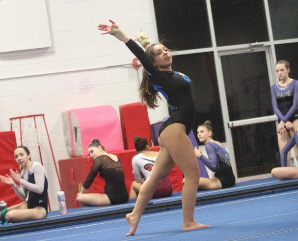 Bella Manfredi and the Hawks were second among eight teams in the February 2 meet in Fairfield. (Chris Jannott photo)