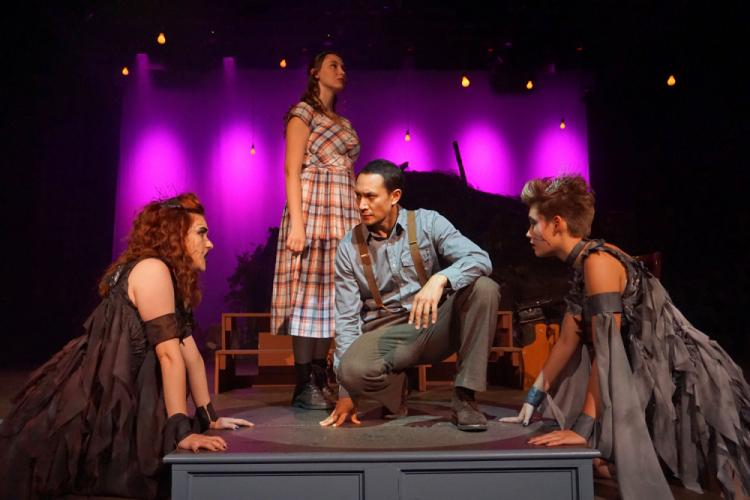 The set and performances for The Sherman Players production of Howard Richardson and William Berney's Dark of the Moon definitely do justice for the staged drama in which witch boy John (John Squires, kneeling) has fallen in love with village girl…