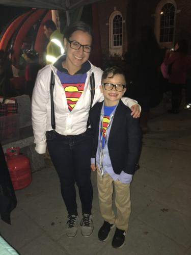 Theresa Viesto bumped into her twin, Superboy, on Halloween night.