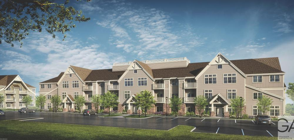 An architectural rendering depicts the facade of one of the 42-unit apartment buildings proposed for Hunters Ridge at 79 Church Hill Road. The complex would hold 224 rental apartments, a clubhouse, and two commercial buildings.  (Granoff Architects)