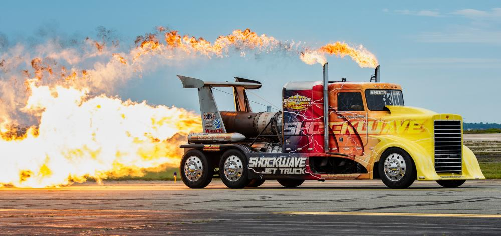 Shockwave, a jet powered big rig, is powered by three jet engines and can travel over 300 mph. It generated heat that could be felt by photographer Darrel Harrington on the flight line.
