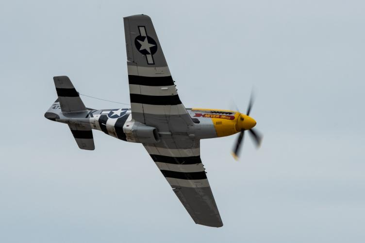 This P-51 Mustang, restored with D-Day invasion black and white strips, was a vintage star among the dozens of fixed wing aircraft that appeared June 9 and 10 at the 2018 Rhode Island National Guard Open House and Air Show.