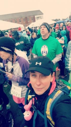 Roseanne Gentilin travels from Milford, Penn. to run the Sandy Hook 5K with 26 pounds of weight in her backpack, as a way to honor those who died on 12/14.