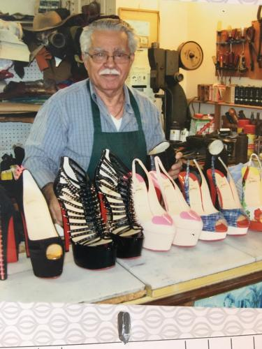 Among the shoes sitting on shelves at his 43 South Main Street shop are expensive women's heels by companies including Prada, Manolo Blahnik, and Ferragamo. -Bee photo, Bobowick