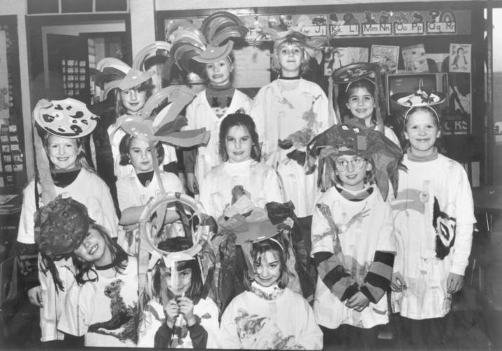 With nothing written on the back of this photo found in a folder at The Newtown Bee, these school students appear to be dressed for an undetermined theme or lesson. Any guesses? Any recollections?  (Bee file photo)