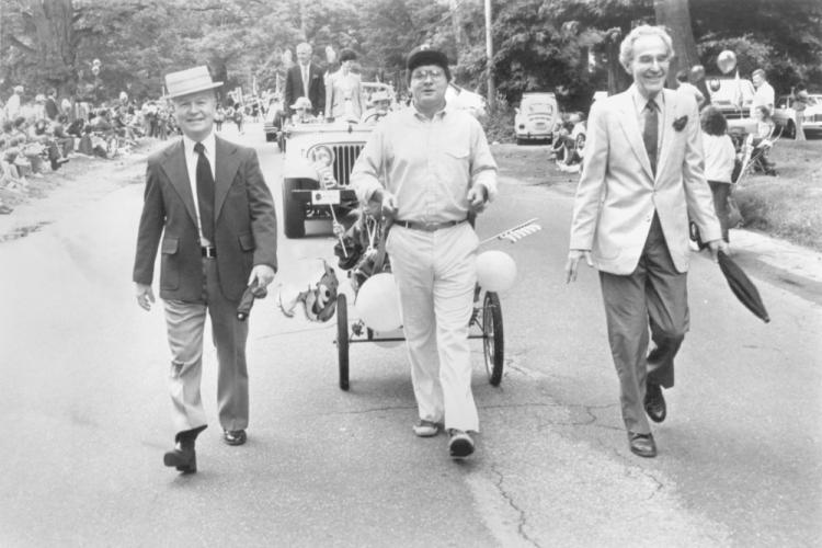 The 1984 Labor Day Parade included, from left, Selectman Joe Borst, Selectman Michael Osborne, and First Selectman Jack Rosenthal.