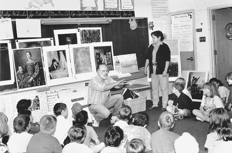 Converted into a digital image, this Bee negative includes only the following: May 1995 artists prepare students for museum trip.