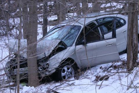 This 2006 Ford Taurus landed in a wooded area near the intersection of Hanover Road and Hall Lane about 7:30 am on March 24, following a two-vehicle collision at the intersection of those two roads. Police said motorist Marita Dorozenski, 66, of…