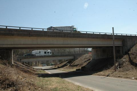 The I-84 overpasses above Center Street in Sandy Hook.