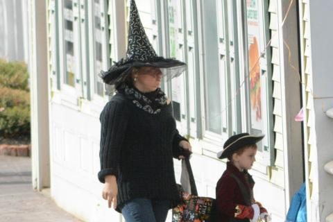 A witch followed a pirate into a sandwich shop midday on Saturday, October 29, during festivities at the 6th Annual Halloween Walk in Sandy Hook Center.  (Bee Photo, Gorosko)