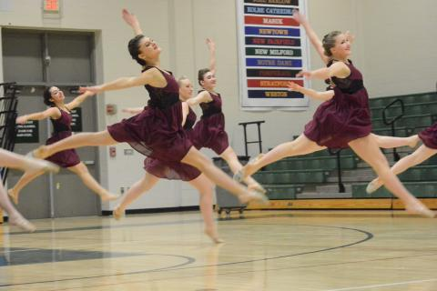 Newtown High's dancers perform their jazz routine during the SWC championships at New Milford High School on January 30. (Bee Photo, Hutchison)