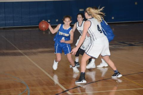 Emma Magazu dribbles the ball during Newtown's win over Lauralton Hall. (Bee Photo, Hutchison)