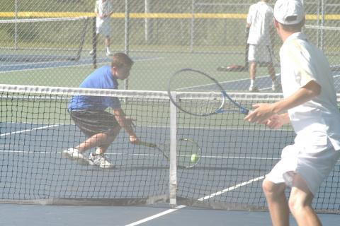 Nick Klein hits a return during SWC postseason action. The Nighthawks beat Joel Barlow in the semifinals before coming up just short against Weston in the championship match.