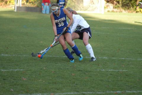 Kayla Disibio controls the ball During Newtown's SWC playoff game loss to Lauralton Hall on October 25.