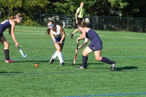 Lauren Zimmerman controls the ball during a recent game at Treadwell Park. Zimmerman and the Nighthawks improved to 5-4 with a 7-0 triumph over Masuk on October 1.
