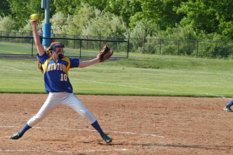 Lauren Wilcox fires a pitch during SWC tourney quarterfinal round action at Brookfield on May 21. Newtown fell 5-1.