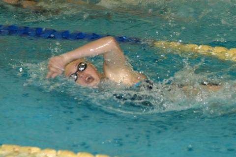 Meg McDonald, one of Newtown's record-setting swimmers, races during competition this season. The Nighthawks placed fifth in the Class LL state championships.
