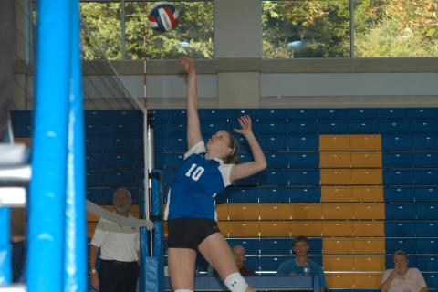 Alexa Reilly goes up for a spike in Newtown's win over Lauralton Hall which gave the Hawks a 2-2 record to begin the season.