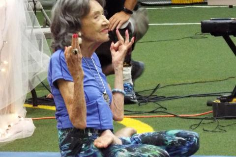 "World-renowned yoga instructor Tao Porchon-Lynch, who is ""99 years young,"" taught the second portion of the Newtown Yoga Festival's afternoon community class on Saturday, August 26. (Bee Photo, Silber)"