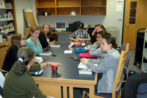 The Newtown High School Book Club met Monday, September 30, in the school's library/media center to discuss its most recent book, Divergent by Veronica Roth.