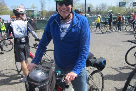 Peter Van Buskirk sits astride his bicycle during the May 5, 2013, the Five Boro Bike Tour, a 40-mile trek through all of New York's City's boroughs. Persistence, an innate positive attitude, and the power of connectivity he felt with…
