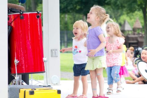 Children obviously enjoyed themselves during Bob Bloom's performance at Dickinson Park on July 31.