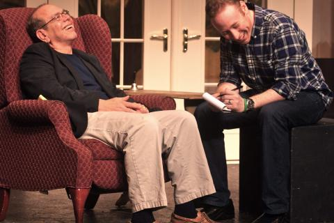 Stan Alpert (as Morrie Schwartz) and Brett Boles (Mitch Albom) share a laugh during a recent rehearsal for Tuesdays with Morrie, which opens this weekend at Center Stage Theatre in Shelton.