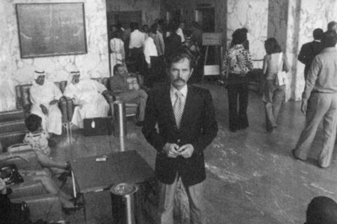 Director of the American University Hospital in Beirut, Mr Egee stands in the lobby in 1975.