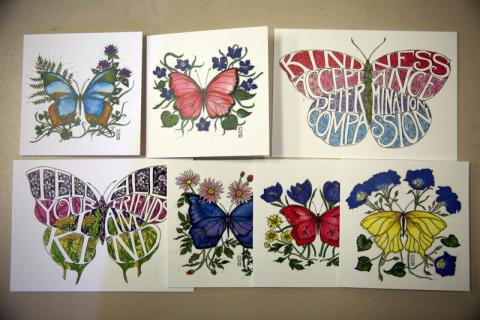 Cards created by Newtown artist Kim Hossler are available to purchase to support the Catherine Violet Hubbard Animal Sanctuary online at cvhfoundation.org. (Bee Photo, Hallabeck)