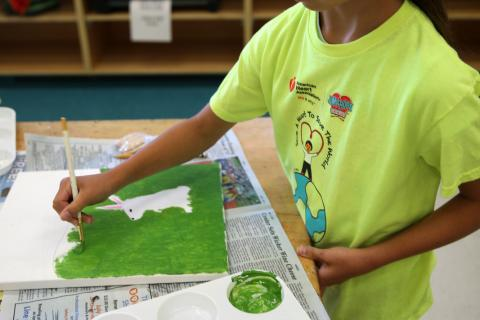 Jillian Hoag, 10, paints a rabbit in Parks & Recreation's Animals in Art camp on July 20.  (Bee Photo, Hallabeck)