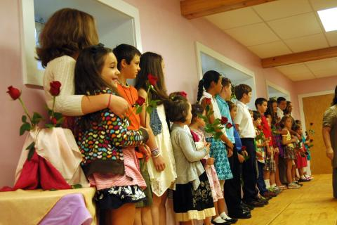Housatonic Valley Waldorf School seventh graders stood with first graders on the first day of school on Wednesday, September 4, during a Rose Ceremony to welcome the future Housatonic Valley Waldorf School Class of 2021.