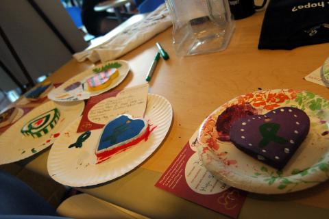 Hearts of Hope were painted during Newtown High School Kindness Club's Day of Kindness.