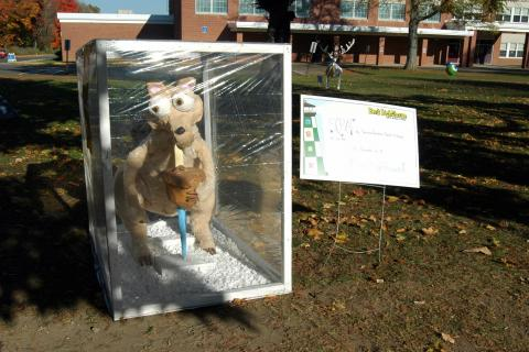 """The """"Scrat"""" scarecrow, created by Teresa Forlenzo and Rachel O'Grady, portraying a character from the movie Ice Age, took first place in this year's Newtown Middle School My Favorite Scarecrow Contest."""