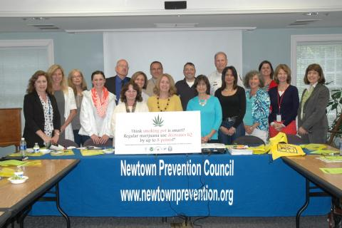 Newtown Prevention Council members and meeting attendees gathered for a photo at the council's last meeting of the school year, held on Thursday, May 15, at C.H. Booth Library.