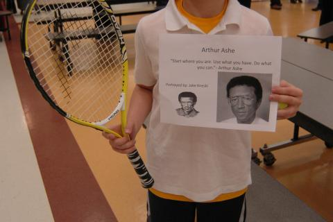 "Arthur Ashe was portrayed by sixth grader Jake Kneski for his cluster's ""One Person Can Make a Difference"" project presentation."