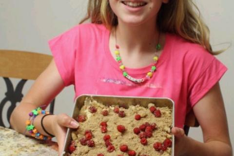 Susannah Drap shows off her wine berry coffee cake.